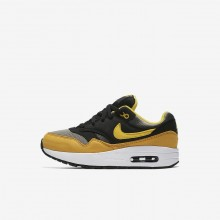 112FZXJV Boys Dark Stucco/Black/Mineral Yellow/Vivid Sulfur Nike Air Max 1 Lifestyle Shoes