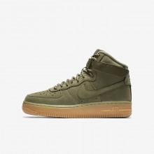 112OQYID Boys Medium Olive/Gum Light Brown/Black Nike Air Force 1 High WB Lifestyle Shoes