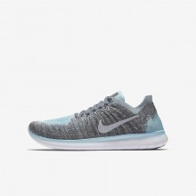 114YSCRM Boys Metallic Silver/Cool Grey/Dark Grey/Reflect Silver Nike Free RN Flyknit 2017 Running Shoes