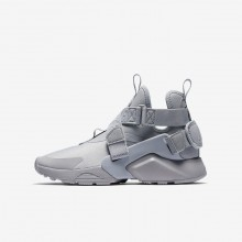 127ZYFSN Boys Wolf Grey/Black/White Nike Huarache City Lifestyle Shoes
