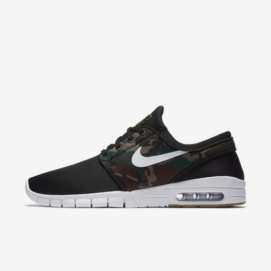 143WONRC Mens Black/Medium Olive/Gum Light Brown/White Nike SB Stefan Janoski Max Skateboarding Shoes