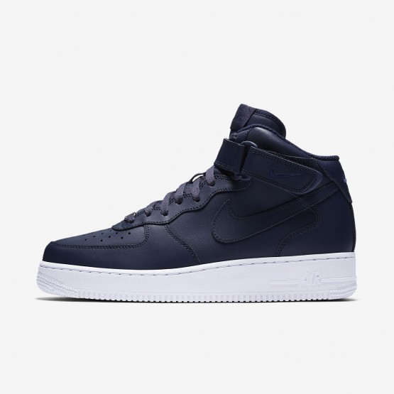 145GWNLX Mens Obsidian/White Nike Air Force 1 Mid 07 Lifestyle Shoes