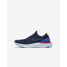 145HZGEF Boys College Navy/Racer Blue/Pink Blast Nike Epic React Flyknit Running Shoes