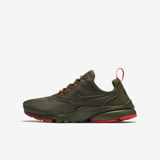 150BTYHS Boys Medium Olive/Total Crimson/Sequoia Nike Presto Fly Lifestyle Shoes