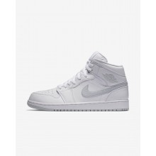 176VRTDM Mens White/Pure Platinum Air Jordan 1 Mid Lifestyle Shoes