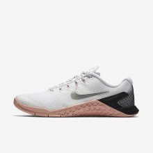 184VAXWR Womens White/Rust Pink/Black/Metallic Silver Nike Metcon 4 Training Shoes