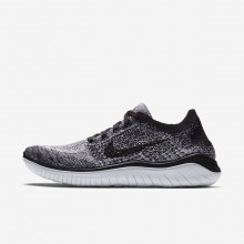 188XIKNA Womens White/Black Nike Free RN Flyknit 2018 Running Shoes