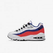 203XQWJY Boys White/Solar Red/Ultramarine/Black Nike Air Max 95 Lifestyle Shoes
