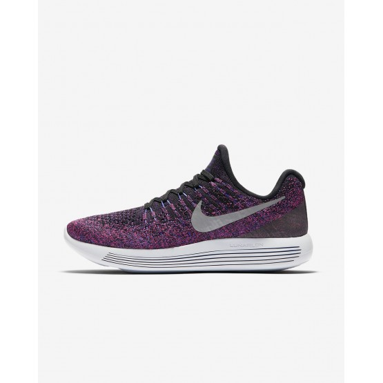 209SKDVR Womens Black/Hyper Punch/Persian Violet/Metallic Silver Nike LunarEpic Low Flyknit 2 Running Shoes