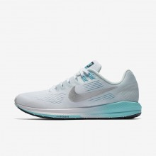 220JFYRU Womens White/Glacier Blue/Polarized Blue/Metallic Silver Nike Air Zoom Structure 21 Running Shoes