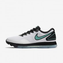 222NFAJG Mens White/Black/Clear Jade Nike Zoom All Out Low 2 Running Shoes