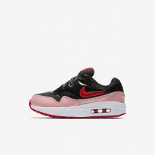 222TLZQY Girls Black/Bleached Coral/Speed Red Nike Air Max 1 QS Lifestyle Shoes