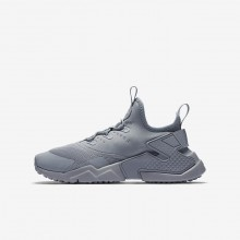 230YVHKG Boys Wolf Grey/White Nike Huarache Run Drift Lifestyle Shoes