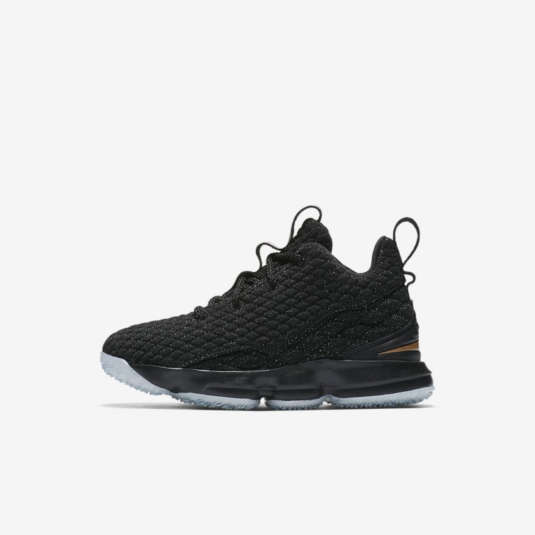0461c27a4b3 Boys Black Metallic Gold Nike LeBron 15 Shoes Clearance Sale - Nike ...