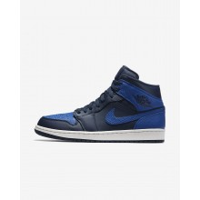 240UZJSV Mens Obsidian/Summit White/Game Royal Air Jordan 1 Mid Lifestyle Shoes