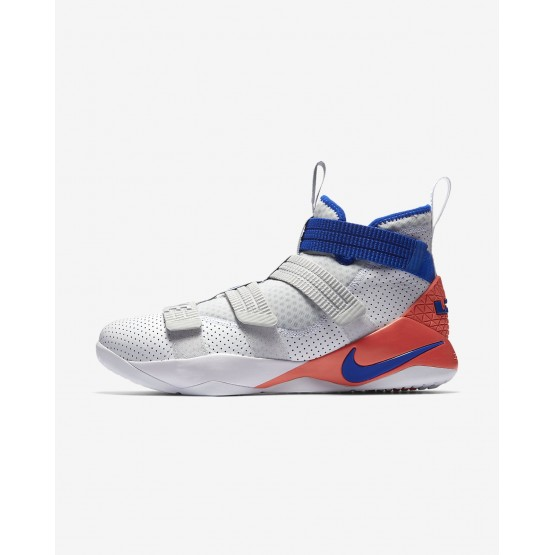 247PGFES Womens White/Infrared/Pure Platinum/Racer Blue Nike LeBron Soldier XI SFG Basketball Shoes