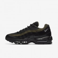 248FUAEY Mens Black/Cargo Khaki/Flat Silver Nike Air Max 95 HAL Lifestyle Shoes