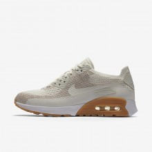 262SBUMK Womens Sail/Sand/Gum Yellow/White Nike Air Max 90 Ultra 2.0 Flyknit Lifestyle Shoes