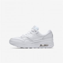 295TKHXF Boys White/Metallic Silver Nike Air Max 1 Lifestyle Shoes