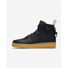 309YGFST Mens Black/Gum Light Brown Nike SF Air Force 1 Mid Lifestyle Shoes