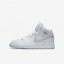 360WPBQI Boys White/Pure Platinum Air Jordan 1 Mid Lifestyle Shoes