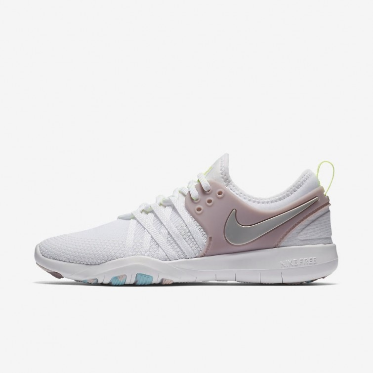bef5aa931ccf 372QNIKR Womens White Elemental Rose Volt Glow Metallic Silver Nike Free  TR7 Training