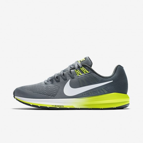 373PBNFC Mens Cool Grey/Anthracite/Volt/White Nike Air Zoom Structure 21 Running Shoes