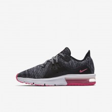 388MWKIN Girls Black/Anthracite/Cool Grey/Racer Pink Nike Air Max Sequent 3 Running Shoes