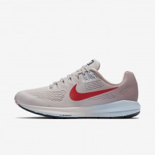 403XESVU Womens Vast Grey/Elemental Rose/Cobalt Tint/Habanero Red Nike Air Zoom Structure 21 Running Shoes