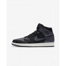 405HILPW Mens Black/Summit White/Dark Grey Air Jordan 1 Mid Lifestyle Shoes
