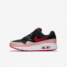 424ARIOJ Girls Black/Bleached Coral/Speed Red Nike Air Max 1 QS Lifestyle Shoes