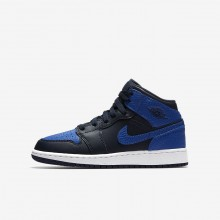 444XKQCG Boys Obsidian/Summit White/Game Royal Air Jordan 1 Mid Lifestyle Shoes