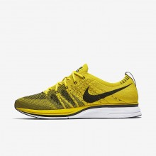 455BJYQZ Mens Bright Citron/White/Black Nike Flyknit Trainer Lifestyle Shoes