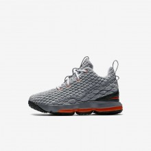 468DMUNB Boys Black/Dark Grey/Cool Grey/Safety Orange Nike LeBron 15 Basketball Shoes