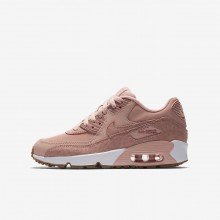 470WAKJT Zapatillas Casual Nike Air Max 90 SE Leather Niña Coral/Blancas/Marrones Claro/Rosas