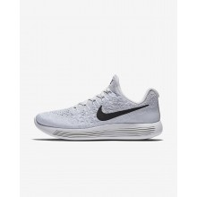 496LIUZJ Womens White/Pure Platinum/Wolf Grey/Black Nike LunarEpic Low Flyknit 2 Running Shoes