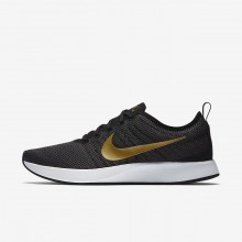 504EDOQN Womens Black/Dark Grey/White/Metallic Gold Nike Dualtone Racer SE Lifestyle Shoes