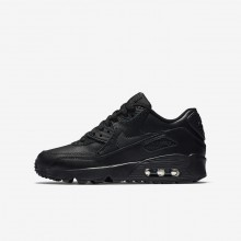 526ASGXV Boys Black Nike Air Max 90 Leather Lifestyle Shoes