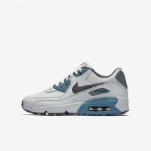 545FWKSM Boys Pure Platinum/Noise Aqua/Dark Grey/Cool Grey Nike Air Max 90 Leather Lifestyle Shoes