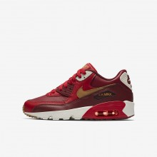 553PNQLI Boys Game Red/Team Red/Sail/Elemental Gold Nike Air Max 90 Leather Lifestyle Shoes