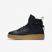 575GTPKX Boys Black/Gum Light Brown Nike SF Air Force 1 Mid Lifestyle Shoes