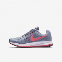 596OFWEI Girls Provence Purple/Light Carbon/Black/Solar Red Nike Zoom Pegasus 34 Running Shoes