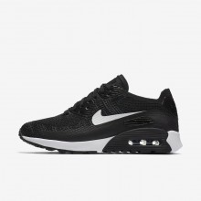 601NYJMA Womens Black/Dark Grey/White Nike Air Max 90 Ultra 2.0 Flyknit Lifestyle Shoes