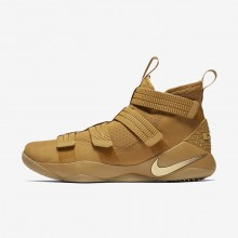 624TMFRZ Womens Mineral Gold/Metallic Gold Nike LeBron Soldier XI SFG Basketball Shoes