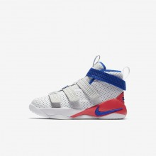 629JTCHO Boys White/Infrared/Pure Platinum/Racer Blue Nike LeBron Soldier XI SFG Basketball Shoes
