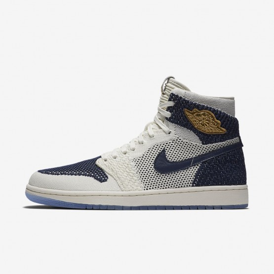 649UFRVQ Mens Sail/Midnight Navy/Metallic Gold Air Jordan 1 Retro High Flyknit Jeter Lifestyle Shoes