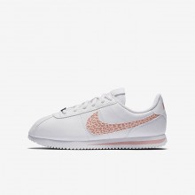 652RXWEV Girls White/Rust Pink/Coral Stardust Nike Cortez Basic SL Lifestyle Shoes