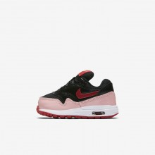 667KGEDU Girls Black/Bleached Coral/Speed Red Nike Air Max 1 QS Lifestyle Shoes