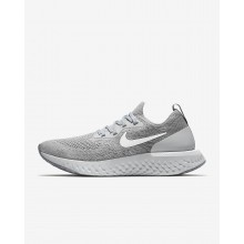 685GQZPV Womens Wolf Grey/Cool Grey/Pure Platinum/White Nike Epic React Flyknit Running Shoes