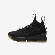 720BOFHE Boys Black/Team Red/Ale Brown Nike LeBron 15 Basketball Shoes